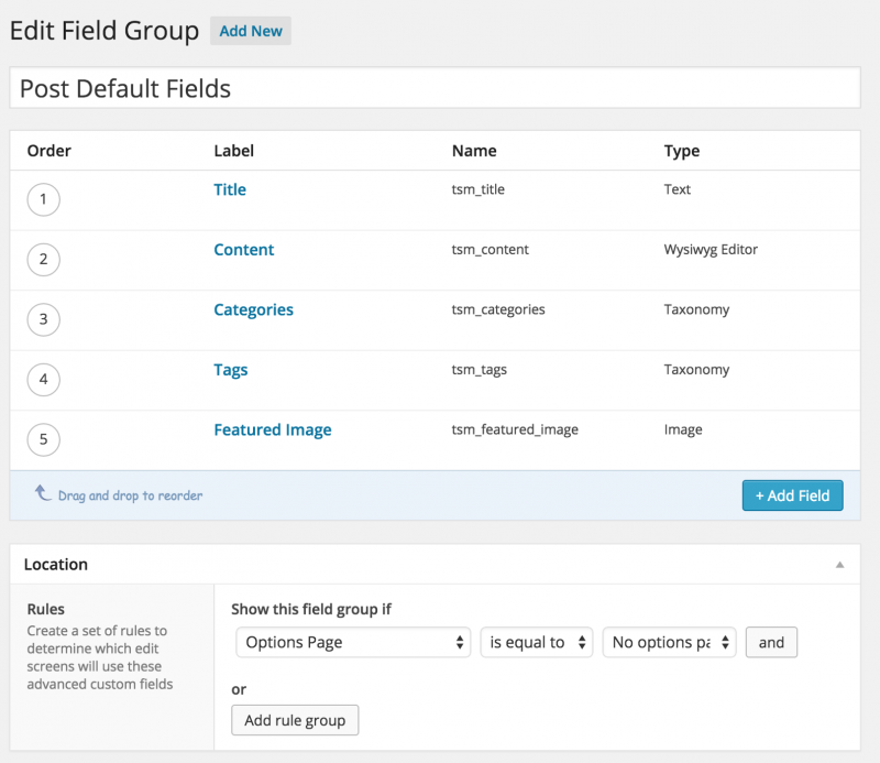 ACF post default fields