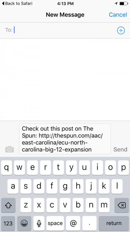 SMS share button example