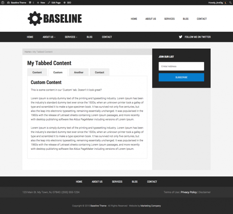 Tabbed Content Page Template In Genesis - The Stiz Media, LLC