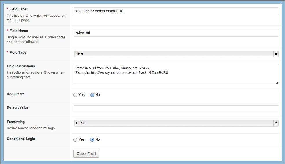 Video URL Custom FIeld